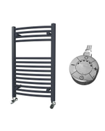 Zennor - Anthracite Electric Towel Rail H800mm x W500mm Curved 300w Thermostatic