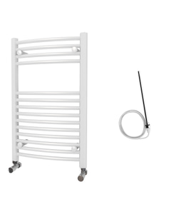 Zennor - White Electric Towel Rail H800mm x W500mm Curved 300w Standard
