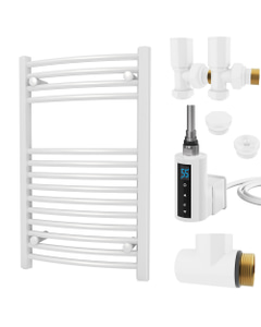Zennor - White Dual Fuel Towel Rail H800mm x W500mm 300w Thermostatic WIFI - Curved