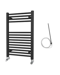 Zennor - Black Electric Towel Rail H800mm x W500mm Straight 300w Standard