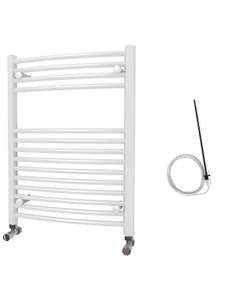 Zennor - White Electric Towel Rail H800mm x W600mm Curved 300w Standard