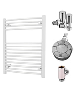 Zennor - White Dual Fuel Towel Rail H800mm x W600mm 300w Thermostatic - Curved