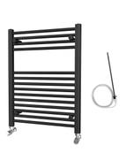 Zennor - Black Electric Towel Rail H800mm x W600mm Straight 300w Standard